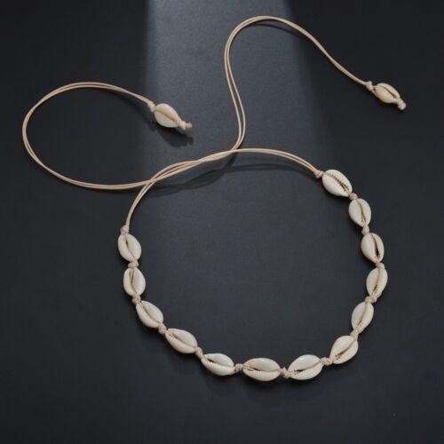 Cowrie Shell Choker Necklace Leather Chain Seashell Dainty Chokers Women Jewelry