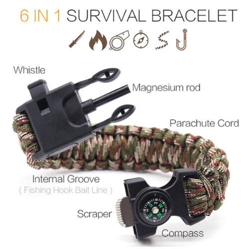 Hot Rope Paracord Survival Bracelet Flint Fire Starter Compass Whistle Outdoor^