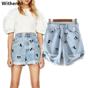 Women-Jeans-Vintage-High-Waist-Hole-Short-Mickey-Jeans-Denim-Sexy-Shorts-Pants