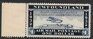 Newfoundland stamps 1$ Private First Flight Airmail stamp MLH VF