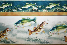 """OOP FISH FABRIC """"ROD AND REEL"""" FISHING FABRIC of TROUT AND BASS FISH VARIETIES"""