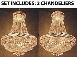 Image Is Loading SET OF 2 French Empire Crystal Chandelier Chandeliers