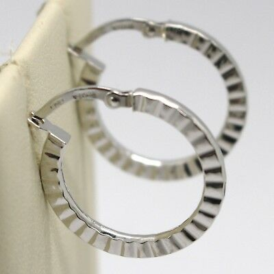 """SOLID 18K WHITE GOLD CIRCLE EARRINGS WITH ZIRCONIA DIAM 0.51/"""" MADE IN ITALY"""