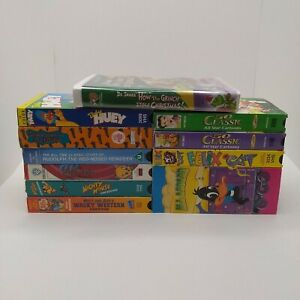 Lot-of-11-VHS-Tape-Kids-Children-Old-Cartoons-Dr-Seuss-Mighty-Mouse-Looney-Tunes