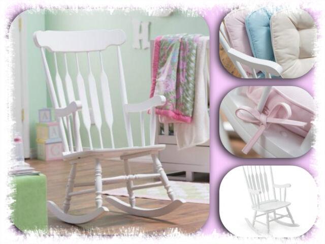 Rocking Chair Glider Nursery Rocker Furniture Wood White Baby Bedroom Room New