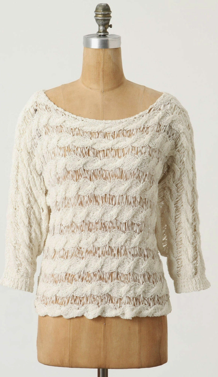 NEW Anthropologie Size L Yarn Tape Ivory Sweater by Moth