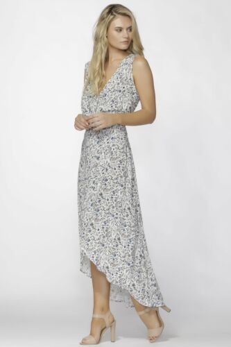 Fate Porcelain High-Low Hem Dress with Faux wrap and tie in pretty Floral Print