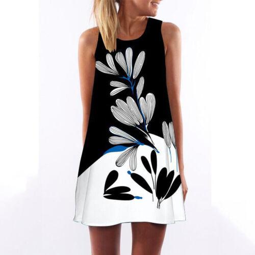 Women Sleeveless Summer Boho Printed Beach Casual Loose Mini Shirt Beach Dress