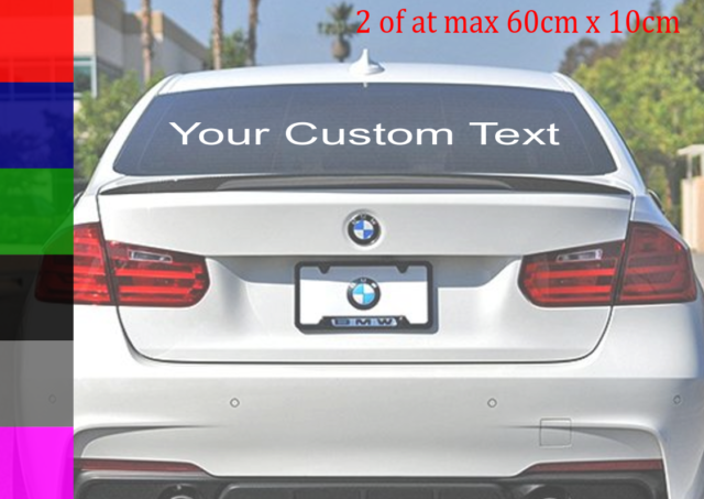 2 x Personalised Rear Window Car Stickers Custom Vinyl Name Lettering Decals Add