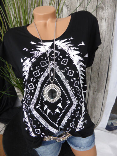 Sheego Shirt Camicia Mis con paillettes 115 40//42-56//58 a maniche corte morbido in diminuzione