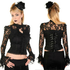 Black lace floral corset bell sleeve steampunk gothic victorian high neck top