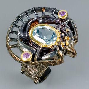 Unique-Design-Natural-Blue-Topaz-925-Sterling-Silver-Ring-Size-8-R100874