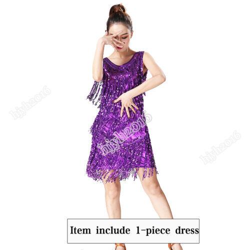 Latin Jazz Dance Dress Performance Sequined Tassel Charleston Salsa #12