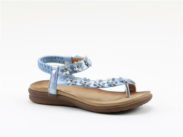 Heavenly Feet Esme bluee Women's Casual Toe Post Floral Detail Sandals