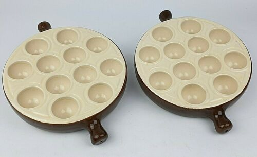 Escargot Quail Egg Dishes Emile Henry French Vintage Duo Cooking Serving Plates