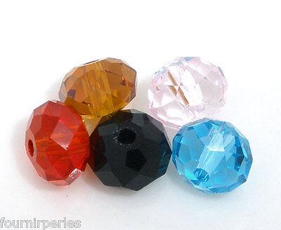 100 Mixte Perles Rondelle Cristal verre quartz multicolore Pour Bracelet 6mm