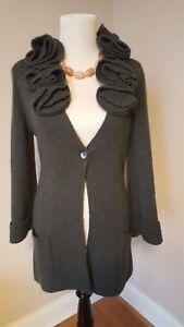 Soft-Surroundings-Long-Alpaca-Wool-Cardigan-Sweater-Green-Sz-SMALL-Ruffle-Collar