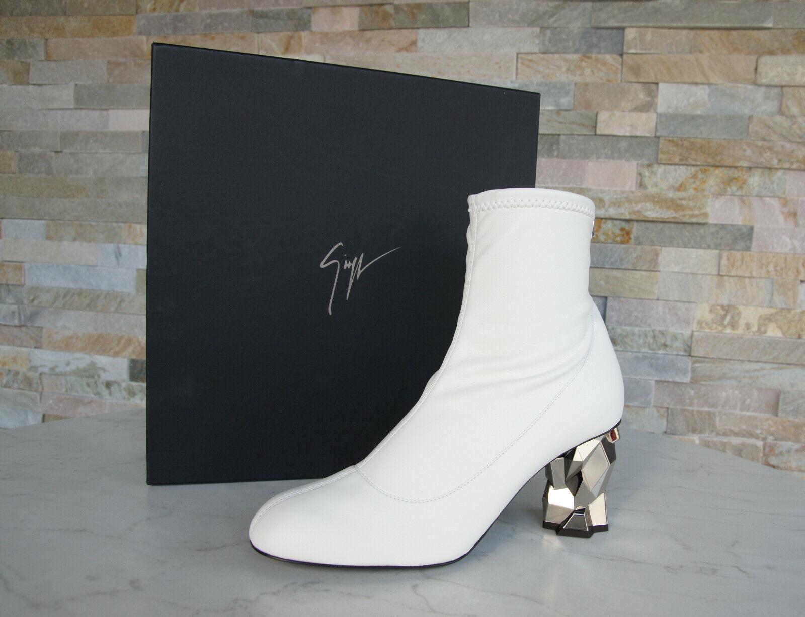 Luxus Giuseppe Zanotti Gr 37,5 Stiefeletten Stiefelies Schuhe weiss ehem