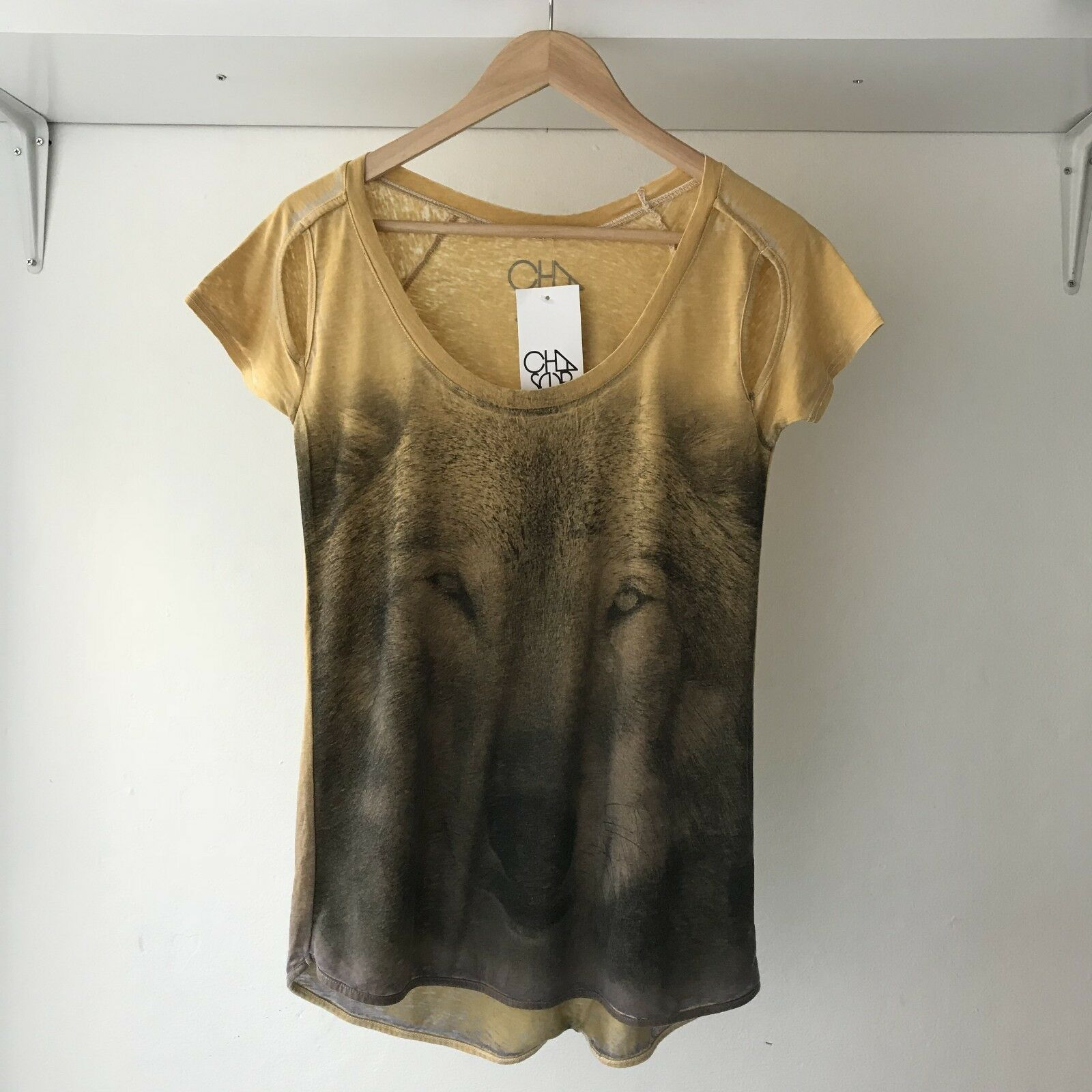 Chaser Womens 90s Wolf Printed Tee Top, Size Small BNWT   Made in USA