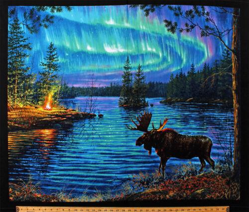 """35/"""" X Panel 44/"""" Alce Northern Lights Northwoods Paisaje De Tela De Algodón D762.46"""