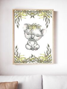 Details About Baby Nursery Wall Decor Koala Australia Animals A4 Unframed Print