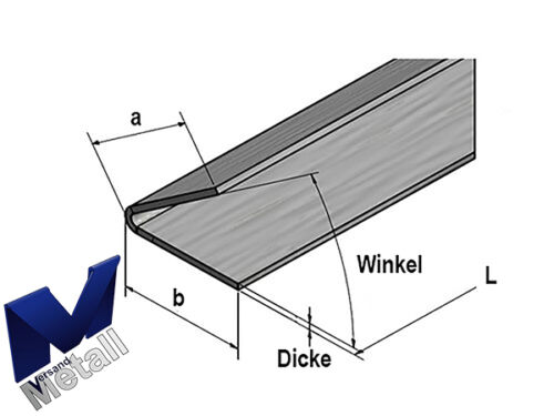 2,0m Edelstahlwinkel V4A 316L Winkel 60° L 2000mm AUSSEN Schliff K320