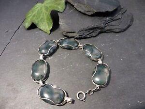 Tolles-835-Silber-Armband-Quarz-Oval-Jugendstil-Art-Deco-60er-70er-Retro-Vintage