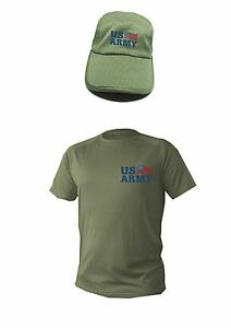 T shirt Mens Dry fit Short Sleeve Hat cap Set Olive Usa Army ... 3739ca147d1