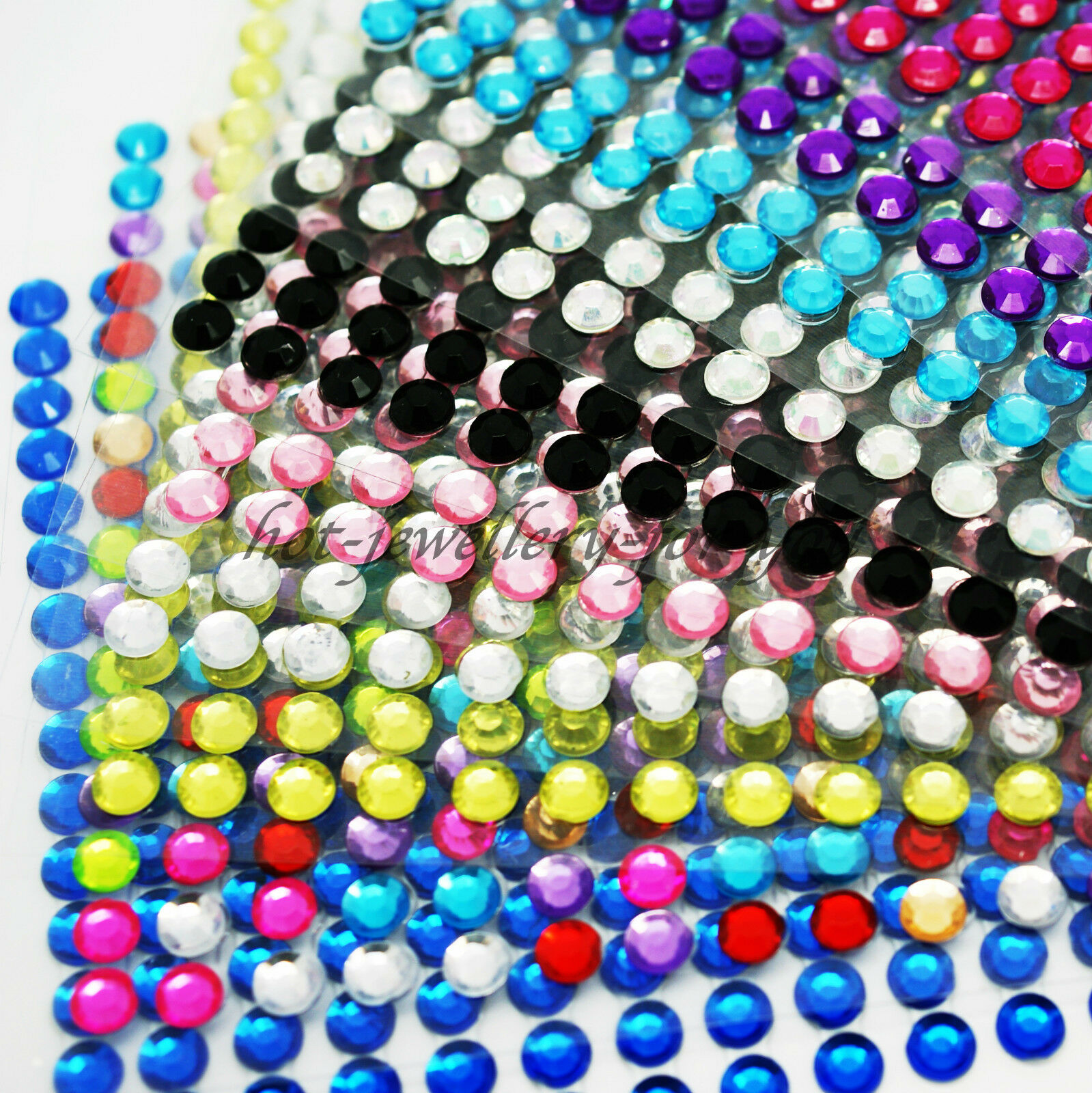Stick on Gems Diamonte 4mm 100 Piece Per Card 12 Colours To Choose From