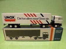 LION CAR 3300 DAF TRUCK + EUROTRAILER - UNOX   - WHITE 1:50 - GOOD IN BOX