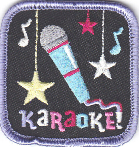"""Singing /""""KARAOKE/"""" w//Microphone /& Music Notes-Iron On Applique Patch//Music"""