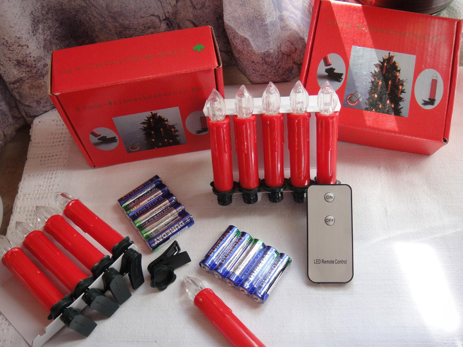 15 Funk-Weihnachtskerzen rot mit Fernbedienung und Batterien
