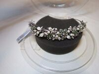 David's Bridal Prom Bride Princess Tiara Crown Rhodium Pearl Peridot Jeweled