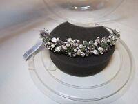 David's Bridal Prom Bride Princess Tiara Crown Rhodium Pearl Peridot Jeweled