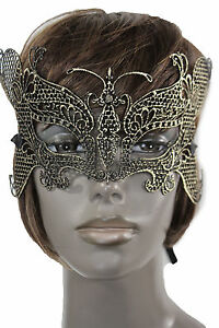 Women-Men-Half-Face-Eye-Costume-Mask-Black-Fabric-Halloween-Mardi-Gras-Gold-Wing