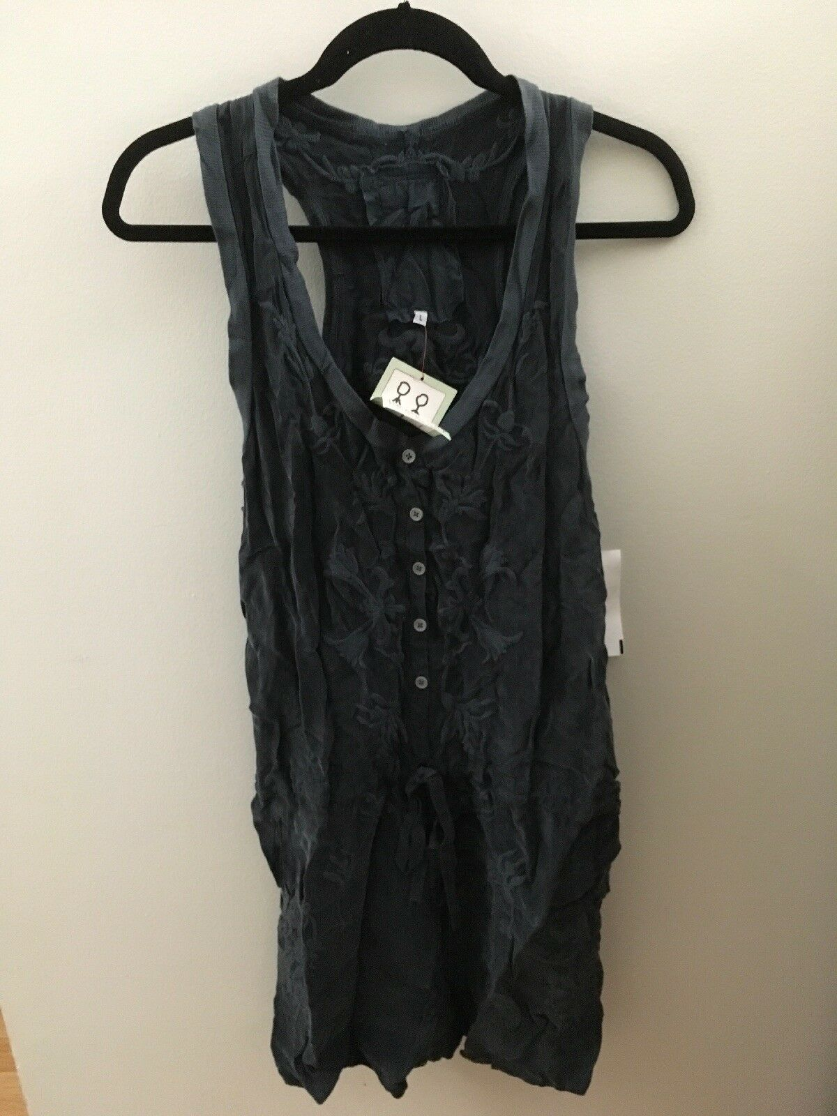Pete & Greta bluee Dark Green Embroidered Floral Romper, Size Large, NWT