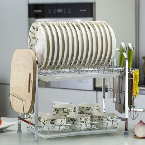 Over The Sink Dish Drying Rack Drainer Shelf Silver Utensil Holder Organizer New