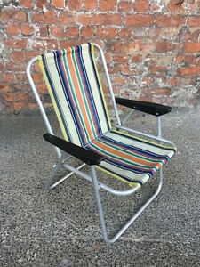 small vintage foldable aluminium deck chair folding garden patio chair
