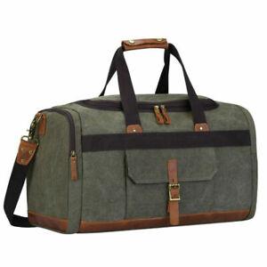 Canvas-Travel-Tote-Leather-Trim-Shoulder-Handbag-Duffel-Bag-Unisex-Luggage-Large