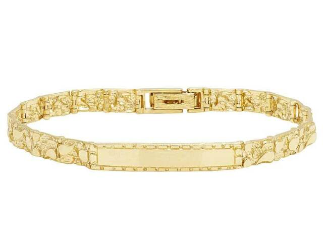 fb8e960b9 Men's Real 10K Yellow Gold Nugget Style Designer Solid ID Bracelet 7MM ...