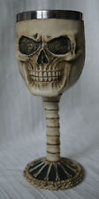 Skull Head Goblet wine glass cup wican chalice gothic face metal witchcraft wica