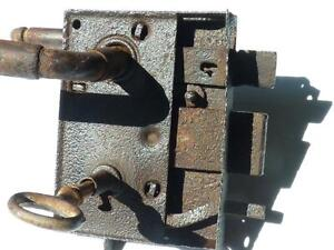 Antique-Handforged-Iron-Door-Lock-19c-with-key