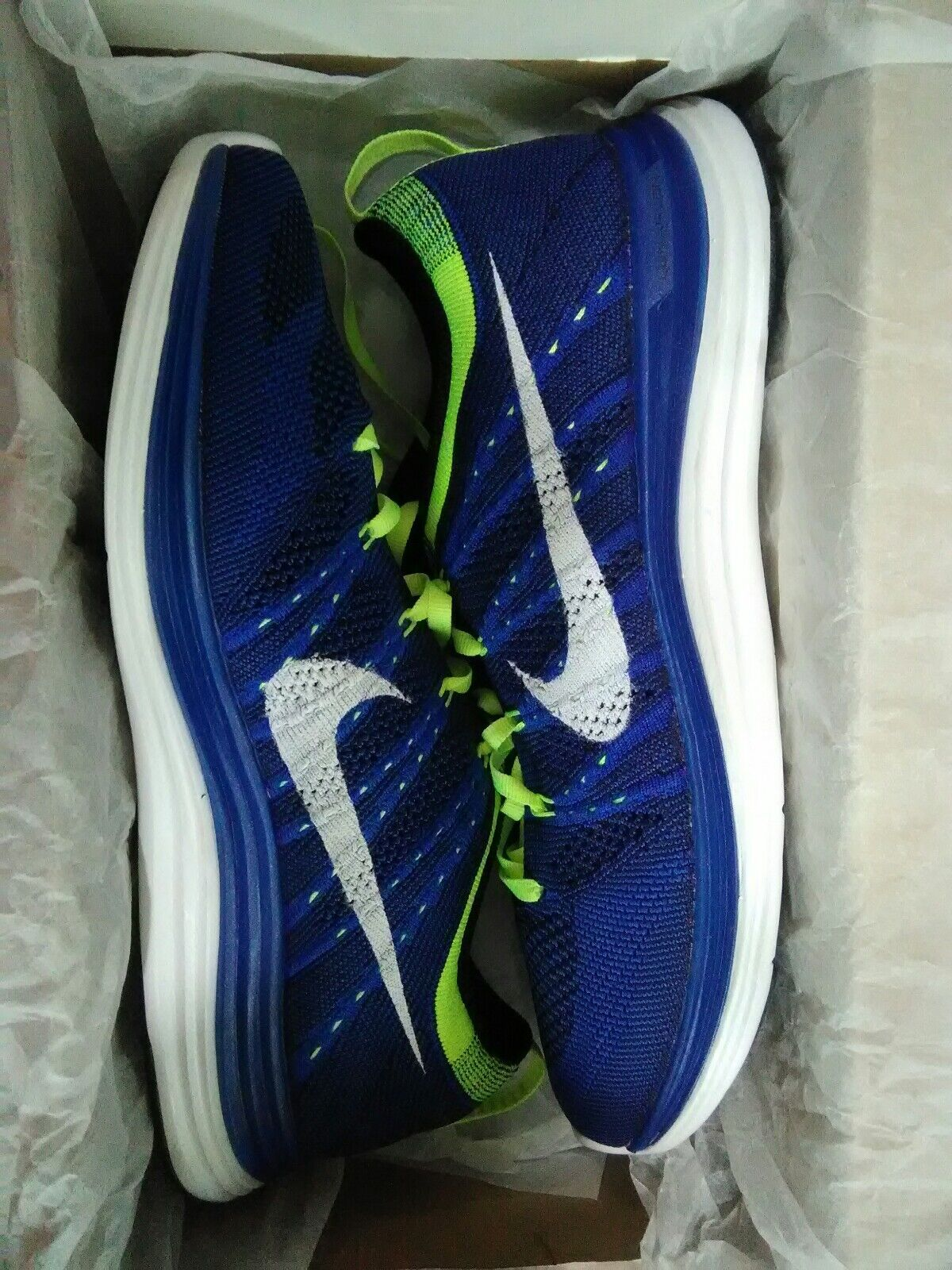 Nike Flyknit One 1 mens running shoes - size 8 bluee NEW