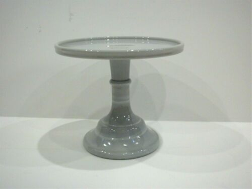 """Mosser Glass Footed Cake Plate Stand 6/"""" Gray Marble NEW OPEN BOX"""