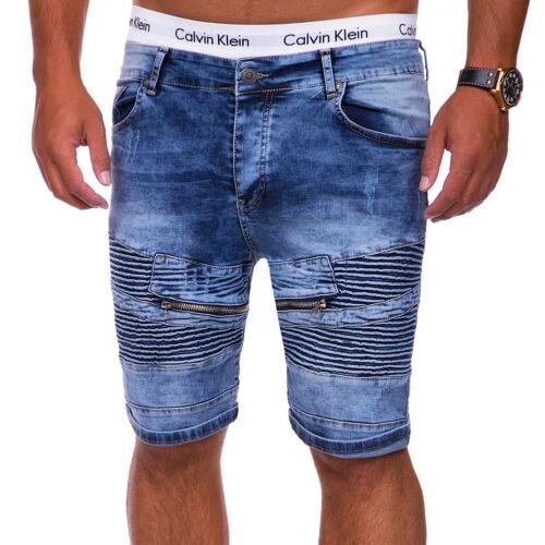 Biker Jeans-Bermuda Pantaloncini Jeans Shorts brevi Pantaloni Chino Blu//Nero//Grigio Nuovo