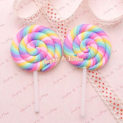 Big Polymer Clay Rainbow Lollipop Cabochon (Pastel Color) | Candy Lollipop - 4pc