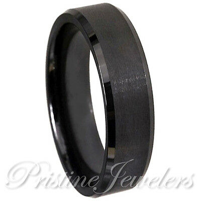 6mm Black Tungsten Wedding Band Mens Womens Jewelry Brushed Comfort fit Ring NEW