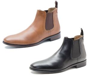 red tape beeston black tan mens leather pull on chelsea