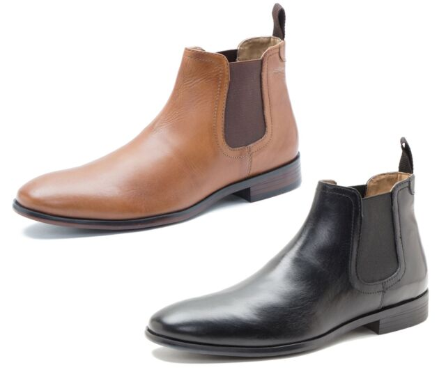 49fb7bf2146 Red Tape Beeston Black Tan Mens Leather Pull On Chelsea Boots Casual Formal