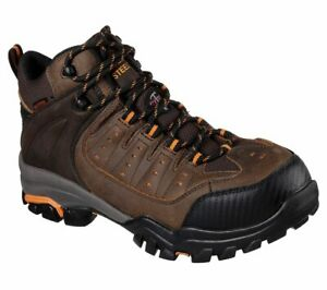 Skechers 77123 Mens Delleker Steel Toe Waterproof Work Shoe Brown//Orange
